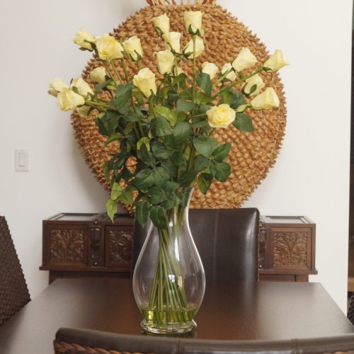 Long yellow stemmed roses