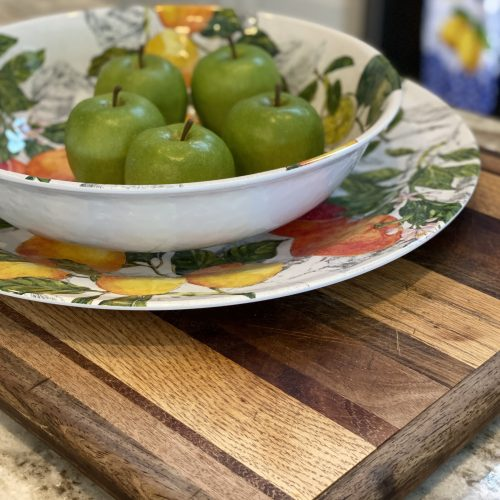 Faux green apples bowl fillers
